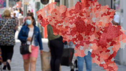 IN KAART. Brussel blijft slecht scoren: bekijk hier de coronasituatie in uw regio