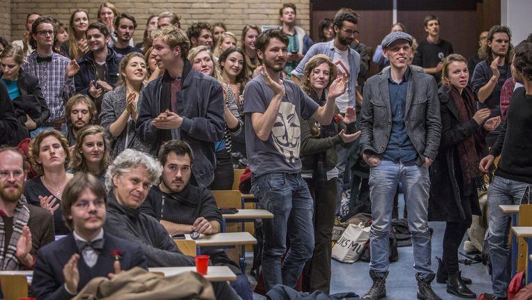 Studenten bij een eerder protest tegen de bezuinigingen. Beeld Amaury Miller (www.amaurymiller.nl)