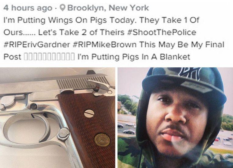 Ismaaiyl Brinsley kondigt op Instagram de dubbele moord aan. Beeld