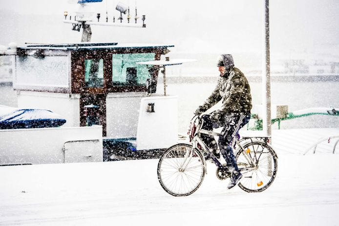 Een fietser zondag in Rotterdam.