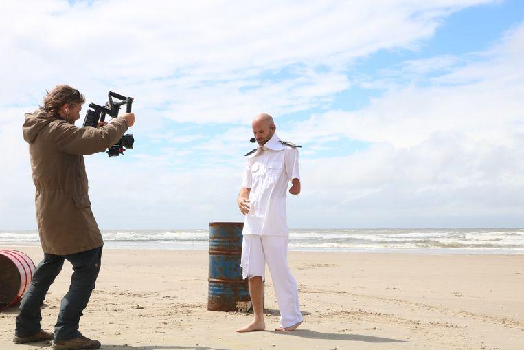 Opname van OLIE, videoclip voor de oeropera Kaapdiegoeiekoop van Silbersee, Gouden Haas en NKK NXT. Beeld Sigrid van der Meij