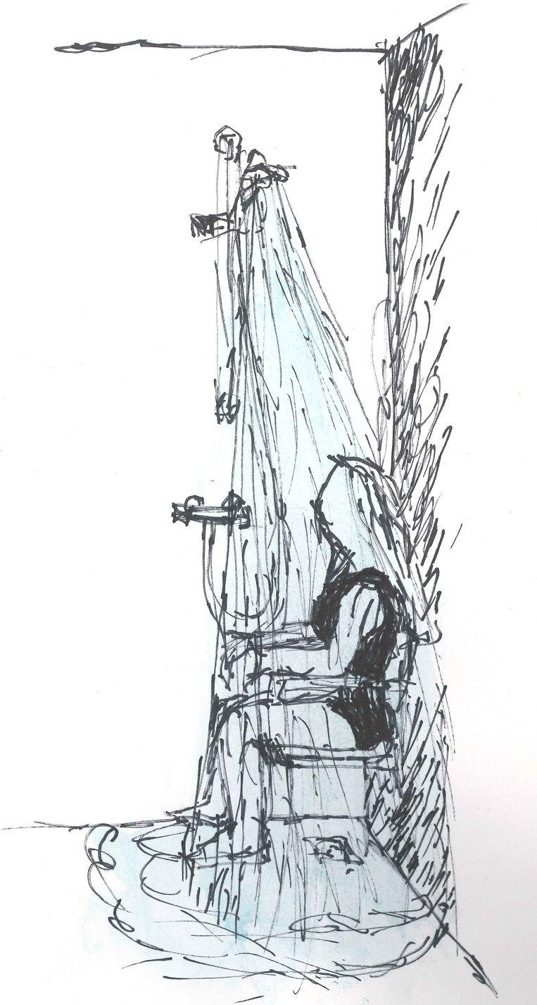 Vrouw, douche, douchestoel, tekening met tekenpen en waterverf (2016) van Marianne Schipaanboord. Beeld Marianne Schipaanboord