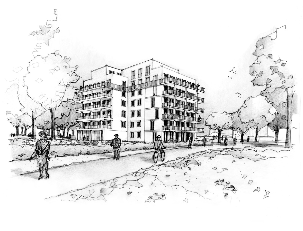 Een artistieke impressie van het nieuwe appartementencomplex dat op de plek van de voormalige sporthal Den Haagakker in Boxtel komt.