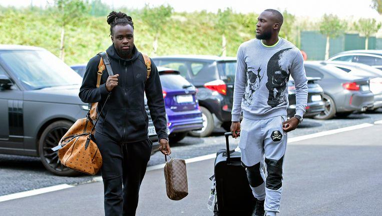 Jordan en Romelu Lukaku bij hun aankomst in Tubeke.