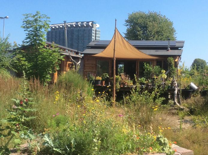 Het houten eco-huis van Tom van Duuren en Judy Koopman op Vredeoord in Eindhoven, met op de achtergrond Philips Nederland aan de Boschdijk. Het zelfbouwhuis kan nog drie tot vijf jaar blijven staan, elders op het terrein.
