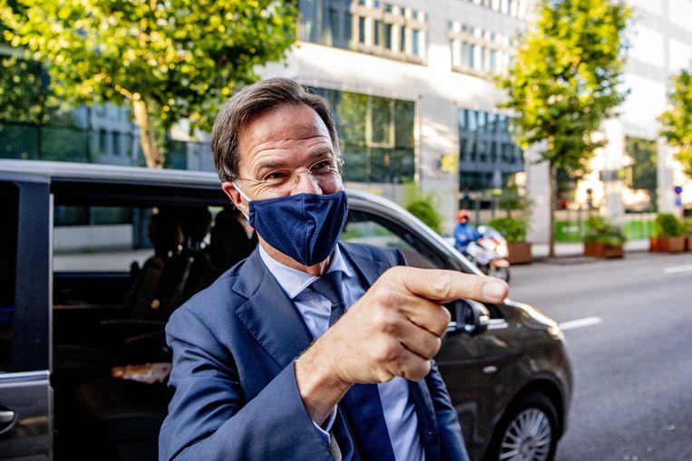 Premier Mark Rutte na afloop van de EU-top Beeld ANP