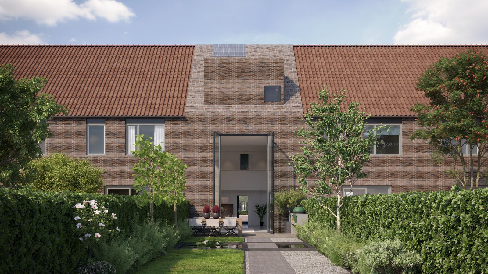 De achterkant van het huis, met een gigantische deur naar de tuin.