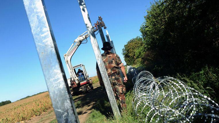Hongaarse soldaten werken aan een nieuw grenshek. Beeld afp