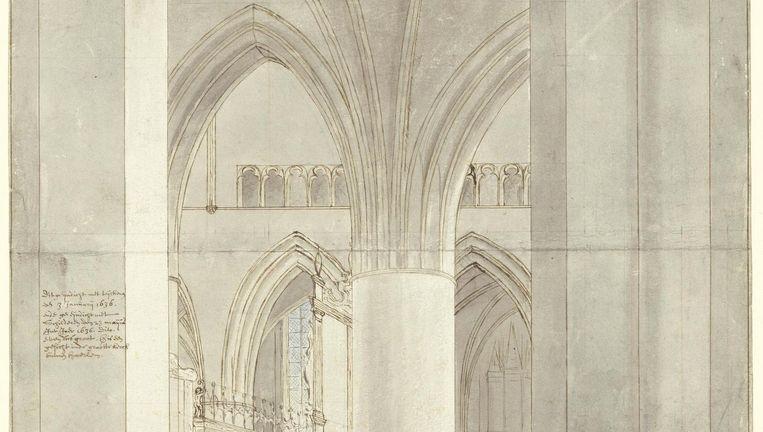 Detail van de voorstudie voor Het koor van de Sint Bavo van Pieter Saenredam. Beeld  Stadsarchief Haarlem