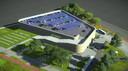 Het ontwerp voor de Park & Ride aan de Aalsterweg in Eindhoven, op het huidige hoofdveld van voetbalclub RPC, naast hotel Van der Valk Eindhoven.