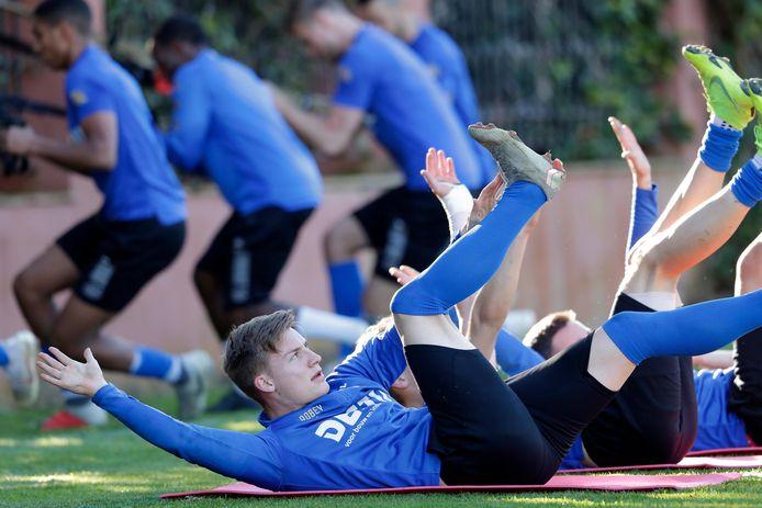 Jarno Abbel vorig seizoen tijdens het een training van Willem II.