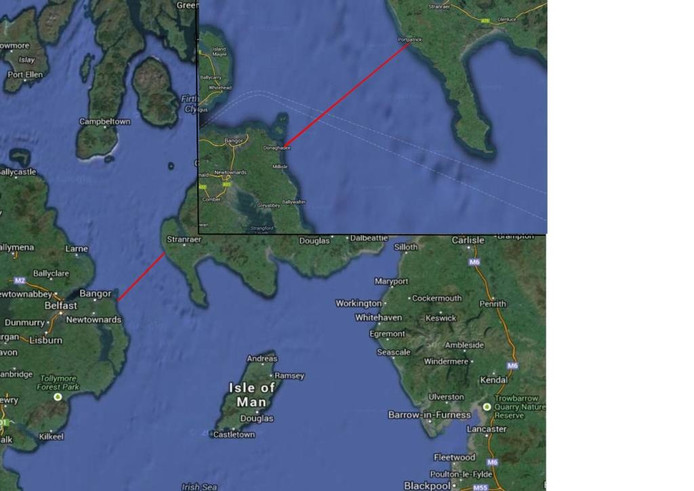 De 35 kilometer tussen Donaghadee en Portpatrick is koud water met veel kwallen.
