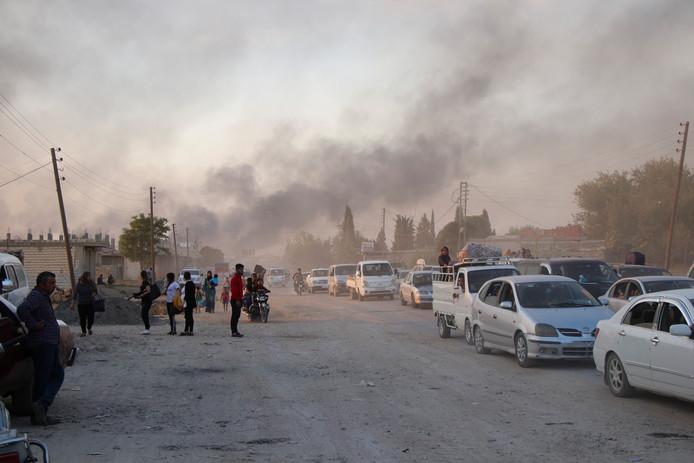 Oorlogsgeweld in Nooroost-Syrië.