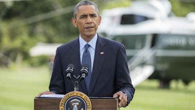 President Obama vandaag tijdens de persconferentie bij het Witte Huis in Washington. Beeld reuters
