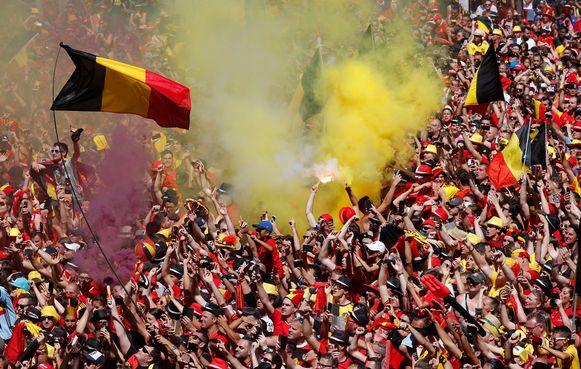 De Rode Duivels werden na het WK in Rusland door duizenden fans  op de Grote Markt in Brussel ontvangen.