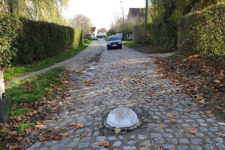 De gecontesteerde betonnen bol in de Hof ter Weerdestraat in Grimbergen.