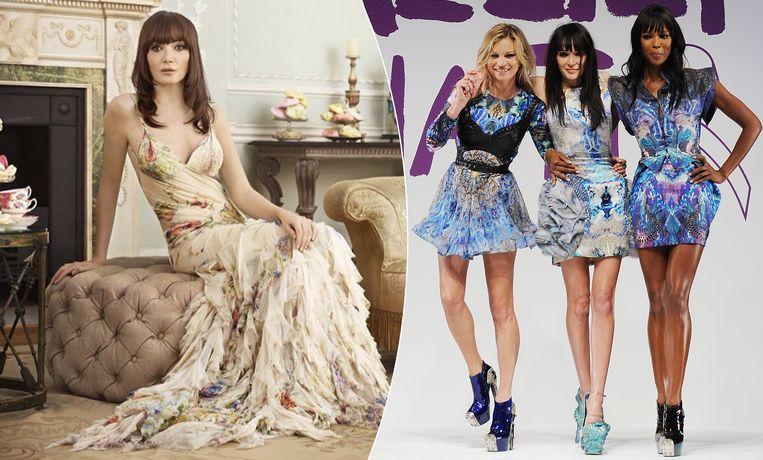 Annabelle Neilson tijdens de opnames van de realityreeks 'Ladies of London' (links) en samen met supermodellen Kate Moss en Naomi Campbell op een eerbetoon aan de overleden ontwerper Alexander McQueen.