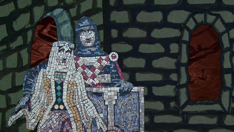 Voor de animatiefilm gebruikte de kunstenaar het mozaïek van Antoon Molkenboer uit de schouwburg Beeld Jacqueline Kooter