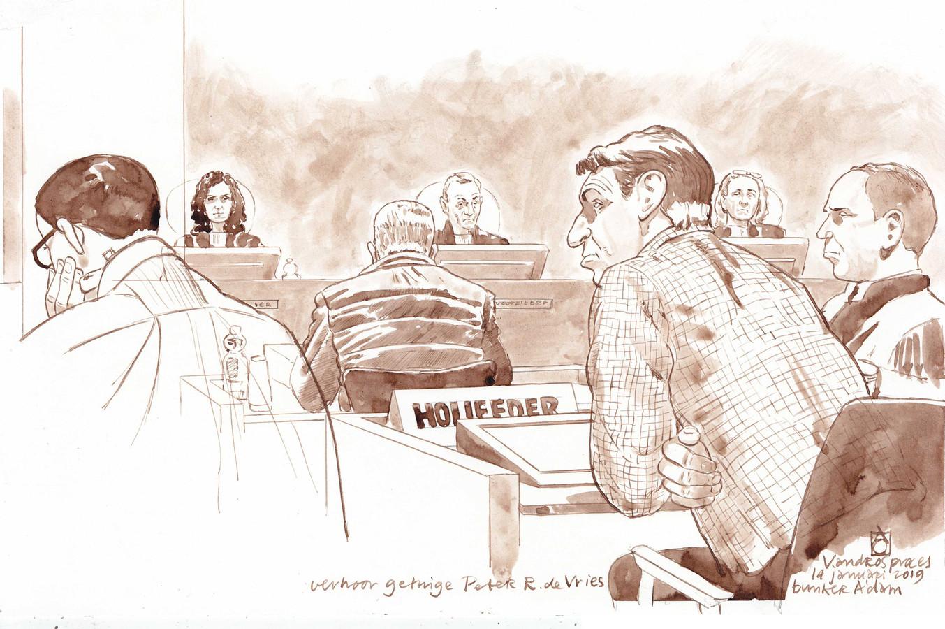 Rechtbanktekening van het strafproces tegen Willem Holleeder