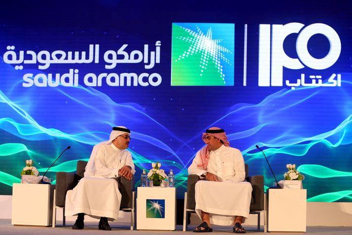 Een persconferentie van Aramco.