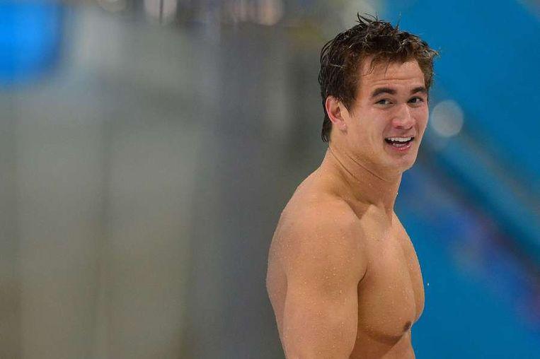 De Amerikaan Nathan Adrian sleepte een gouden medaille in de wacht voor de 100 meter vrije slag op de Olympische Spelen in Londen.