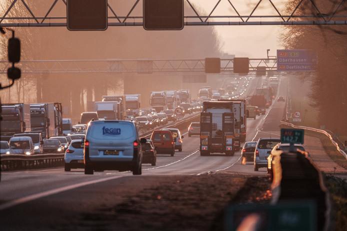 Ook deze week waren er weer files op de A12 van de Duitse grens naar Zevenaar.