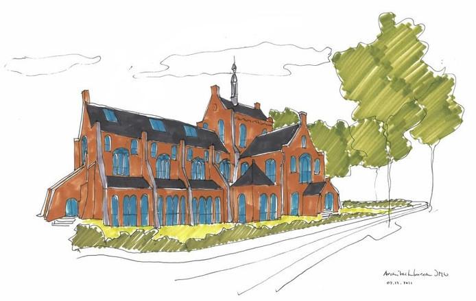 Een van de eerste schetsen voor de herontwikkeling van de kerk.