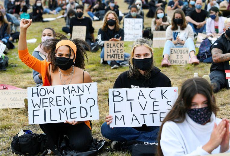 Demonstranten tijdens de Black Lives Matter-demonstratie in Maastricht.  Beeld REUTERS