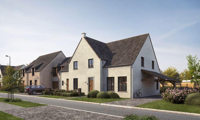 Dit conceptbeeld toont hoe de gezinswoningen in de verkaveling Schaerkehoek er zullen uitzien.