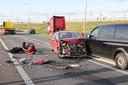 De ravage na het ongeluk op de N50.