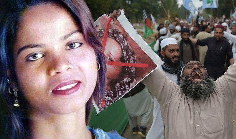 Asia Bibi (links) werd in 2010 ter dood veroordeeld, maar het Hooggerechtshof maakte die straf deze week ongedaan. Tegen die beslissing wordt in Pakistan al dagenlang geprotesteerd.