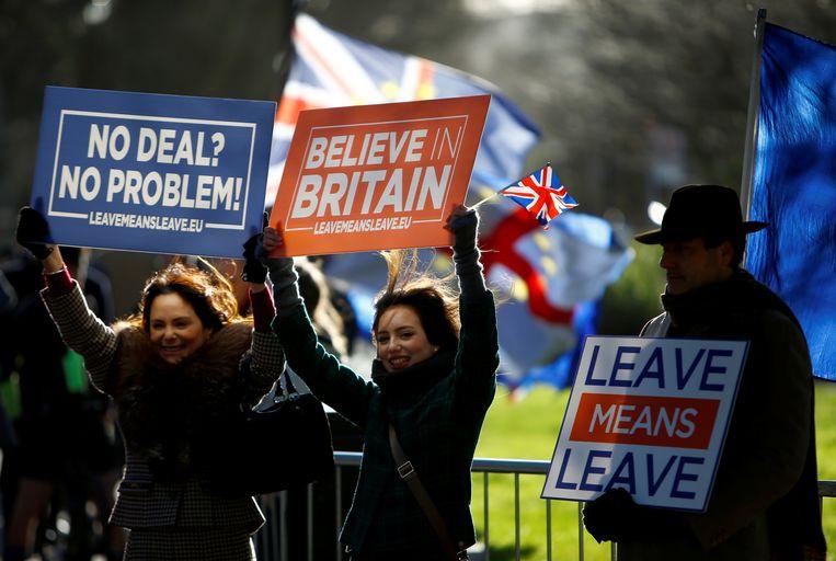 Pro-brexitbetogers voor het Britse parlement.