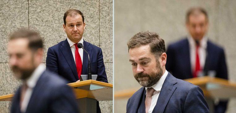 Lodewijk Asscher (PvdA) en Klaas Dijkhoff (VVD) tijdens de Algemene Politieke Beschouwingen. Beeld ANP