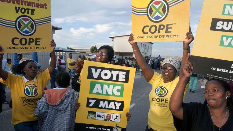 Een campagneteam van het ANC nabij Kaapstad.