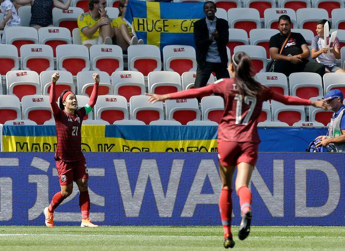 Kanjana Sung-Ngoen kan haar geluk niet op naar haar WK-goal.