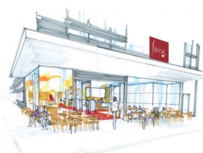 Een schets van het toekomstige restaurant WOK! aan het Vredenburg in Utrecht.
