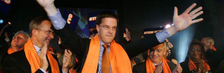 Mark Rutte bij de aftrap van de VVD-verkiezingscampagne. Beeld