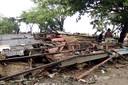De ravage in Carita in de regio Pandeglang