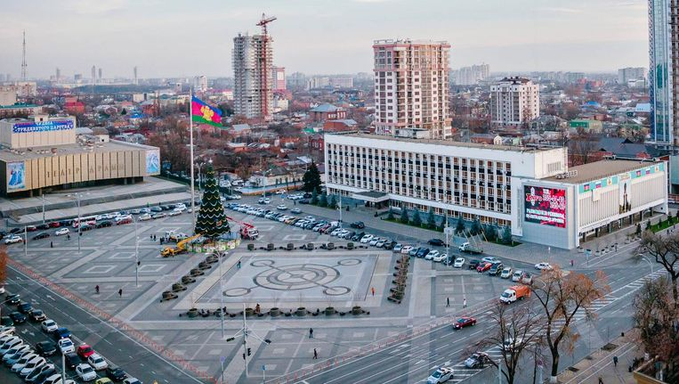 Het centrale plein van Krasnodar, de stad waar het echtpaar vandaan komt. Beeld Wikimedia Commons
