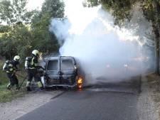 Bestelauto brandt uit in Geffen, brandweer voorkomt dat ook boom vlam vat