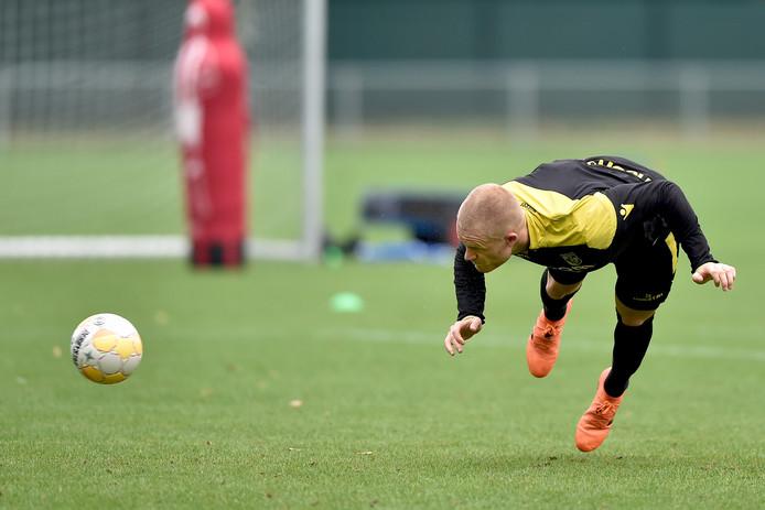 Rasmus Thelander eerder dit seizoen tijdens de training van Vitesse op Papendal.