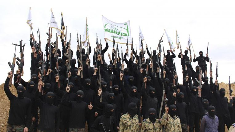 Strijders van Ahrar al-Sham. Beeld Screenshot YouTube