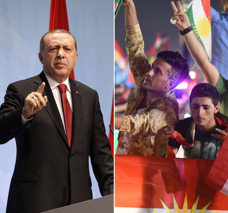 """Turks president Erdogan waarschuwt de Iraakse Koerden, die gisteren het referendum voor onafhankelijkheid in Irak vierden: """"Als Turkije haar grens met Irak sluit, zullen de Iraakse Koerden verhongeren"""", zei Erdogan."""