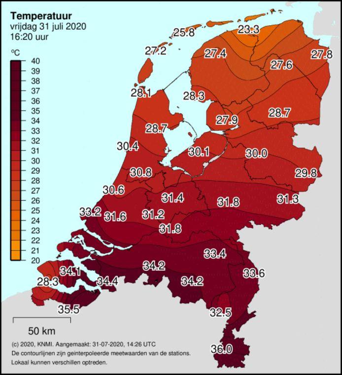 In oostelijk Zeeuws-Vlaanderen liep de temperatuur tegen het eind van de middag op tot 35,5 graden Celsius.