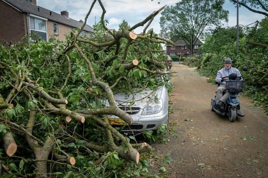 Het dorp Rheden kreeg dinsdagavond laat de volle laag.