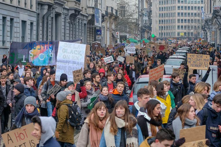 Derde betoging van jongeren voor het klimaat.