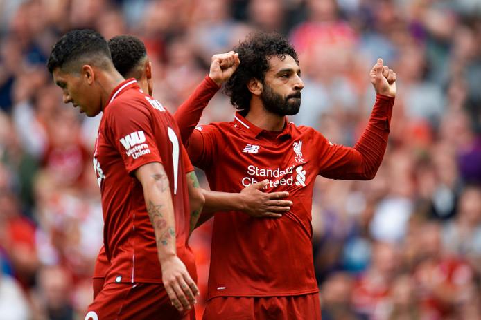 Mohamed Salah juicht na zijn openingstreffer tegen West Ham United.