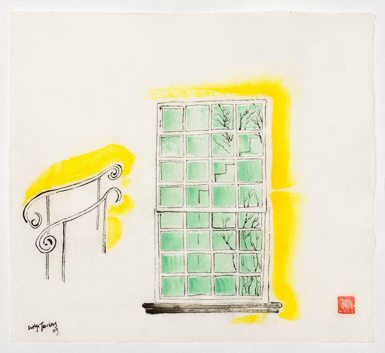 Sayings of Picked-Up (Window of Hermitage), No. 6, 2019, inkt en aquarel op rijstpapier, 45 × 48 cm. Beeld Evelyn Taocheng