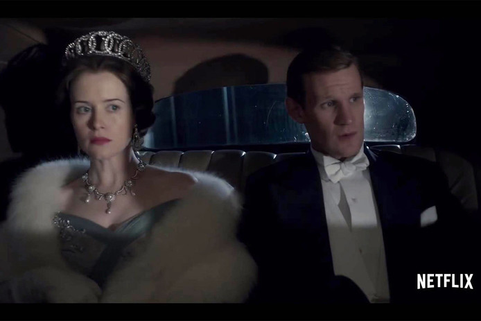 Claire Foy en Matt Smith in de Netflix-serie The Crown.