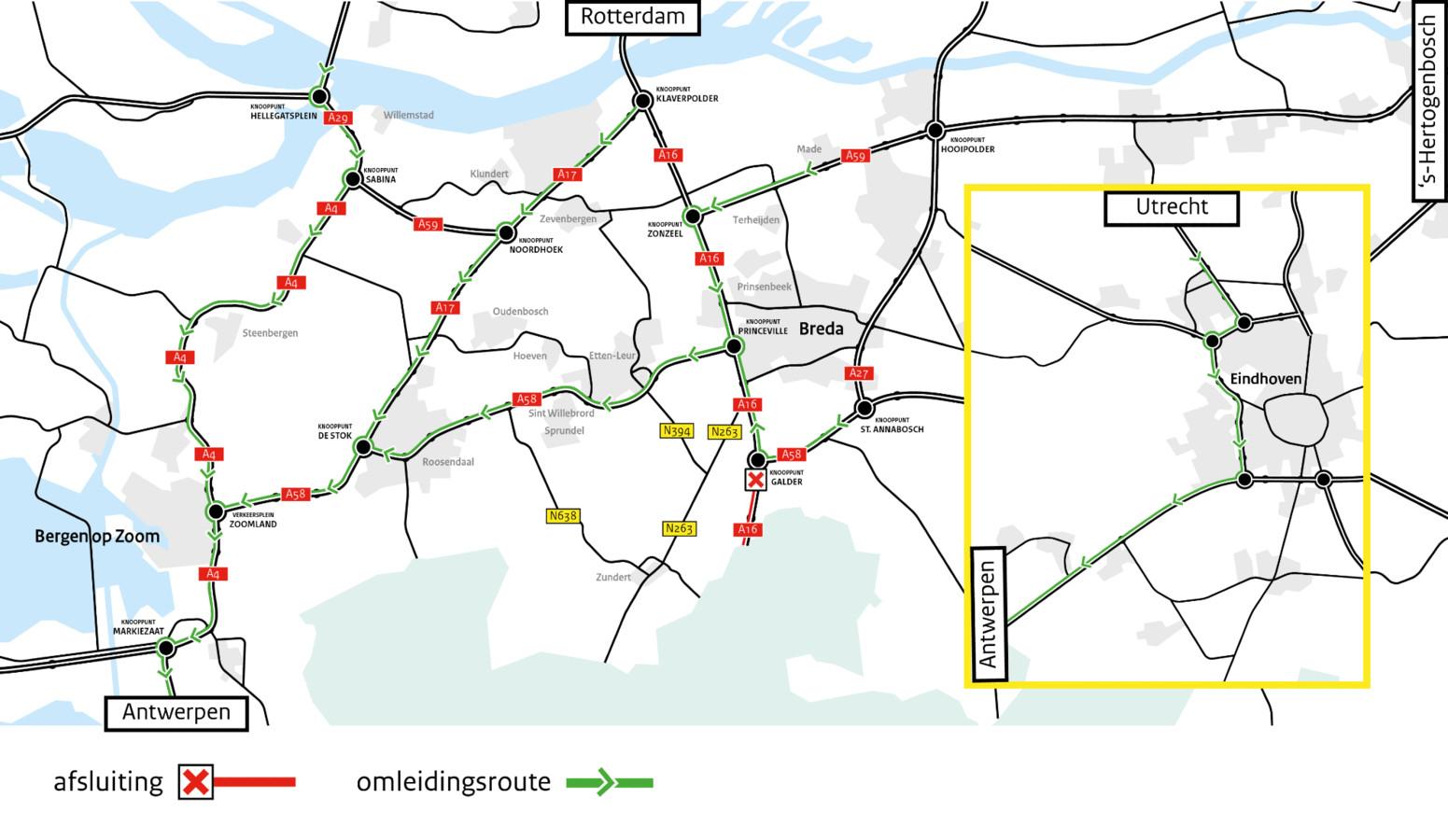 Van 6 maart 21.00 uur tot 9 maart 05.00 uur is de A16 dicht van knooppunt Galder bij Breda tot de grens met België, in de richting van Antwerpen.